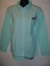 Top Medium Mint Green Cat in Pocket Embroidery Blouse Button Down Shirt 202 NWT
