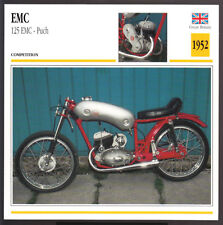 1952 EMC 125cc Puch British/Austria Motorcycle Photo Spec Sheet Info Stat Card