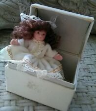 Vintage Miniature Collectible Bisque Doll In Matching Silk Chest
