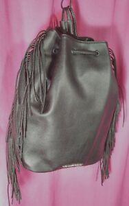 VICTORIA'S SECRET Black Leatherette Back Pack Style W/ Fringe Purse Sack NWT $85