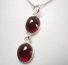 Red Garnet Double-Gem 925 Sterling Silver Pendant Corona Sun Jewelry