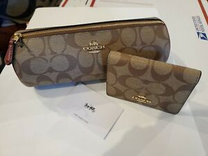 Coach Makeup Brush Bag/Jewely Pouch & Mirror Set In Khaki Wine NWOT $178