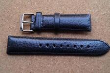 BLACK LEATHER STITCHED WATCH STRAP 22MM WITH STAINLESS STEEL BUCKLE