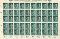 Stamp Germany Poland General Gov't Mi 080 Sheet 1941 WWII Fascism Hitler MNH