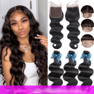Brazilian Hair Body Wave 3Bundles with Closure Lace Remy Human Hair Extension