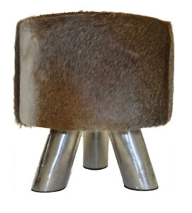 Sitting Stool From Cowskin Unique Coat Stools With Metal Frame Footrest Stool