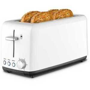 Kambrook Wide Slot 4 Slice White Toaster - KTA140WHT