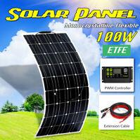 100W 18V Mono Flexible Solar Panel Kit 12V Battery Charger 20A Controller
