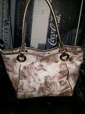 Arcadia Alligator Croc Taupe Cream Metallic Leather Purse Handbag ~ Large