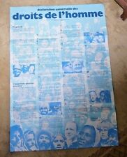 LOVELY VINTAGE POSTER HUMAN RIGHTS UNITED NATIONS 1948 DROITS DE L'HOMME UNESCO