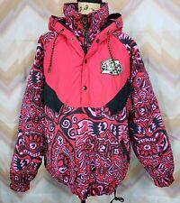 VTG O'NEILL Sz L Red black pink hooded ski snowboard snow winter jacket