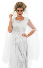 LADIES LONG WHITE HOODED ZOMBIE GHOST COSTUME FANCY DRESS HALLOWEEN 24-26 XXL