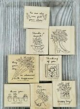 2000 Stampin Up GIRL TALK 8pc Set Pots Shoes Umbrella Flowers Gardening