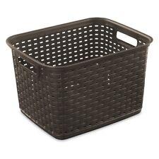 Sterilite 1273 Tall Weave Basket Storage Bin Wicker Look Plastic, Espresso Brown