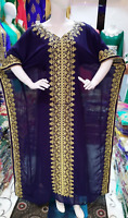 MOROCCAN NAVY BLUE DUBAI KAFTANS ABAYA VERY FANCY LONG GOWN FARASHA MS 2018