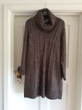 Next Brown Marl Cable Knit Jumper Dress Sz 14 Bnwt