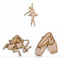 Wooden MDF 3mm Thick Ballet Shoes Ballerina Embellishment Blank Plaque Design
