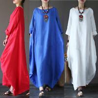 Women Casual Boho Crew Neck Solid Cotton Oversized Maxi Loose Long Dress
