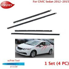 For Civic Sedan 2012-2015 Window Weatherstrip 4Pc Sweep Molded Trim Outer Black (Fits: Honda)