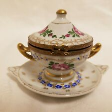 Limoges Peint Main Porcelain Miniature Trinket Ring Box with Tray