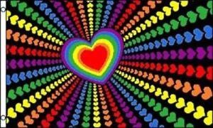 Rainbow Love Flag Heart Banner Gay Pride Pennant Festival Event Sign LGBT 3x5