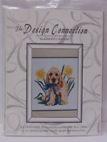 NEW Design Connection Counted Cross Stitch Kit COCKER SPANIEL PUPPY DAFFODILS