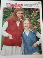 Copley knitting pattern.  Mother and daughter sleeveless chunky jacket  26-40""