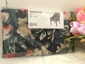 Ikea SAKARIAS Armchair Cover ONLY black, lingbo multicolor, dark floral - NEW