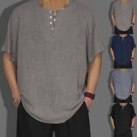 Men's Baggy Cotton Linen Solid Color Short Sleeve Retro T Shirts Tops Blouse