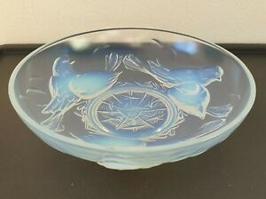 "Rare Art Deco 1930's Ezan France Opalescent Uranium Glass Nesting Birds Bowl 10"""