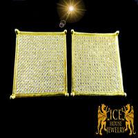 New Men Multivariation Flat Screen White CZ on Yellow Gold Platted Stud Earrings