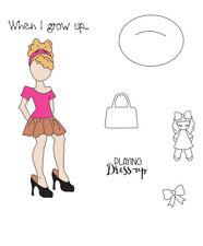 Prima Julie Nutting Emmy Lou Doll Stamp Set Dress Up Girls Fashion Phrases
