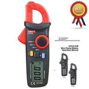 UNI-T UT210A Mini Clamp Meter AC DC Voltage AC Amp Ohm Tester Meter●H