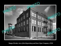 OLD POSTCARD SIZE PHOTO OF TAMPA FLORIDA THE REGENSBURG CIGAR FACTORY c1920