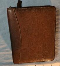 Vintage Franklin Quest Compact Binder Brown Pebbles Leather Made In Usa