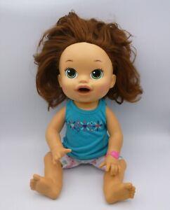Baby Alive 2014 Snackin Sara Hasbro Doll Soft Face Green Eyes Spanish-English