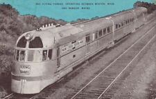 Postcard Railroad Flying Yankee Between Boston MA + Bangor ME