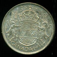 1954 Queen Elizabeth II, Silver Fifty Cent Piece, Lustre!   F160