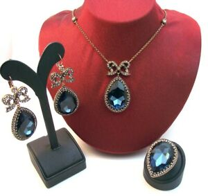 Turkish Jewelry Hurrem Sultan's Ottoman Style Sapphire - Turquoise Drop Set