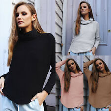 Women Winter Turtleneck Knitted Tops Loose Pullover Sweater Jumper Sweatshirt