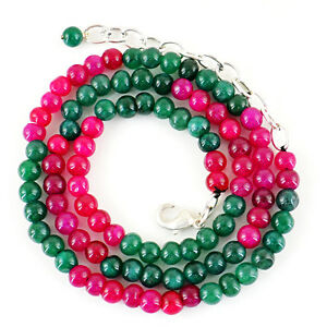110.00 Cts Earth Mined Ruby Emerald /& Sapphire Round Beads Necklace NK 39E22