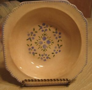 """BEAUTIFUL LIMOGES CHINA CO. BLUE FLORAL DISH 6"""" SQUARE....LOVELY FLORAL PATTERN!"""
