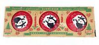 Vintage Christmas Decorated Aluminum Metal Coasters w/ Original Box - 12 in Box