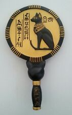 Egyptian Mirror Royalty Decor Bastet Cat Goddess Hieroglyphic Hand Mirror #9051