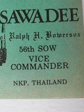 Vietnam War Air Force 56th Sow V Commander Bowersox Farewell Invitation Card