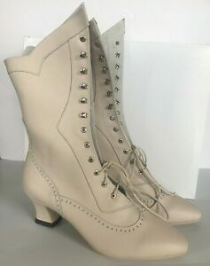 Ivory Leather Victorian, Handmade Soft Leather, Boots, Curved Heel, Size 8-12