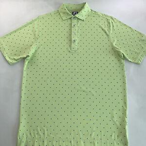 Men's FootJoy Logo Polo Shirt Bright Green Blue Diamond Size Medium NEW
