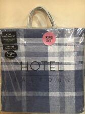 NEW Hotel Balfour King Duvet Cover Shams 3 Pc Set 100% Cotton Blue Grey Plaid