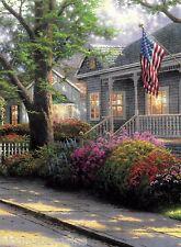 "Thomas Kinkade ""Hometown Pride"" Boxless Puzzle Floral USA America House *NEW*"