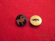 """Buttons-Black Glass Gold Aries Zodiac in brass metal shank Button-.534""""-13.57mm"""